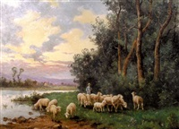 berger et troupeau près de la rivière by aime-gabriel-adolphe bourgoin
