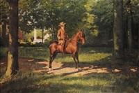 jeune cavalier dans un parc by frans jan simons