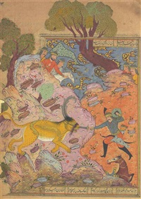 the killing of a mythical feline beast and the killing a dragon (2 works) by muin musavvir