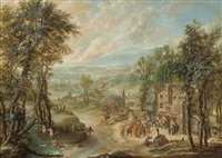 an extensive wooded landscape by robert griffier