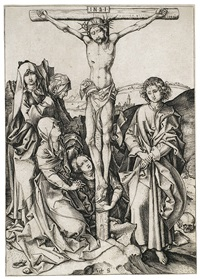 christus am kreuz, pl. 9 (from die passion) by martin schongauer