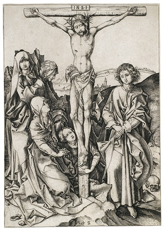 christus am kreuz pl 9 from die passion by martin schongauer