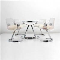 dining table with four chairs (5 works) by boris tabakoff