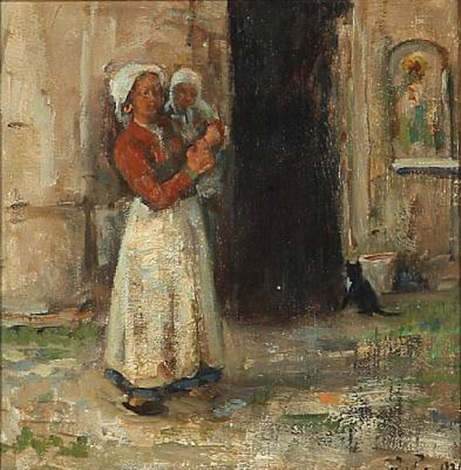 italian woman with a child by julius paulsen