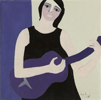 lady with guitar by leyly matine-daftary