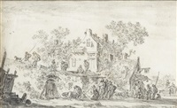 scène de village animé, avec figures devant une auberge by jan josefsz van goyen