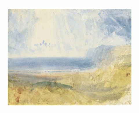 colour beginning a coastal landscape with a figure in the foreground