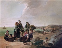 fisherfolk on a beach before a coastal town by thomas jose annunciacao