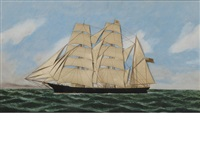the three masted bark anna l. taylor at sea by thomas h. willis