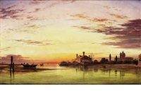 venice, sunset after rain by edward william cooke