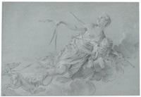 diana halbliegend auf wolken schwebend, begleitet von amor und zwei jagdhunden an der leine - allegorie der nacht by noel halle