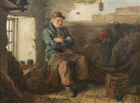 a fisherman amongst his nets by walter langley