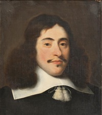 portrait of a gentleman, in a black costume with a white collar by isaac luttichuys