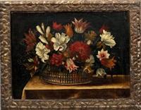 bouquet de fleurs dans une corbeille d'osier by jacques linard