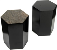 pair of hexagonal end tables by arthur silverman