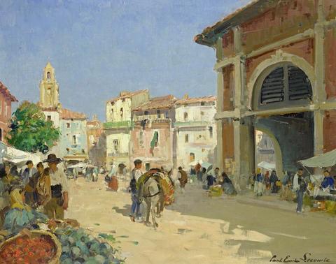 market square albasete spain by paul emile lecomte