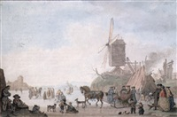 winter landscape with figures skating and sledging near a windmill by nicolaas aartman