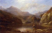 figures in a loch landscape by george f. buchanan
