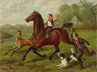 horse riding scenes by edward benjamin herberte