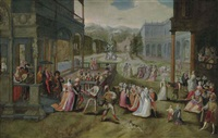 a masked ball in an italianate courtyard by jan snellinck the elder