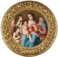 the holy family with the infant saint john the baptist and an angel by andrea piccinelli