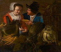 a young couple standing beside a table laden with carrots, cabbage and other vegetables by petrus staverenus