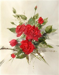 a spray of red roses by vernon ward
