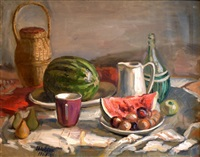 still life with watermelon by ernest melkis