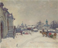 a snowy village with troika by arnold borisovich lakhovsky