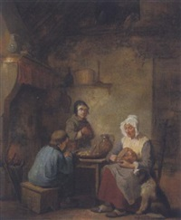 karges mahl in der stube by jacobus ludovicus godinau