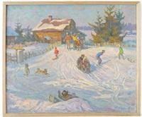 children in the snow by yuri frolov