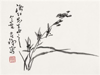 幽兰图 镜心 水墨纸本 by li kuchan