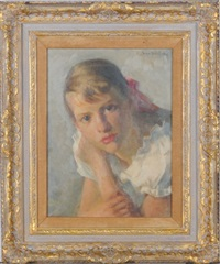 portrait of a girl with a red bow by ivan g. olinsky