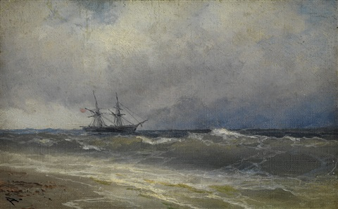 a ship in stormy waters by ivan konstantinovich aivazovsky