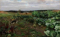 cabbage field with a curious cat by hans ludvig smidth