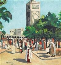foule marocaine devant le minaret by eugen reichenbach