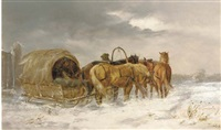 a sledge pulled in the snow by jan wolski
