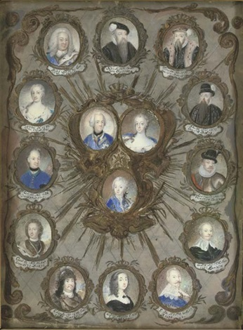 portraits of the twelve kings and queens of sweden from gustavus i to frederick i with portraits of king adolphus frederick queen louise ulrika and their son the future king gustavus iii by niclas lafrensen the elder