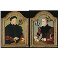 portrait of nicolaus von gail, aged 26, wearing a black doublet with red sleeves and holding a book and a pair of gloves (+ portrait of sophie von wedigh, aged 21, wearing a black and red dress; pair) by bartholomäus (barthel) bruyn the younger