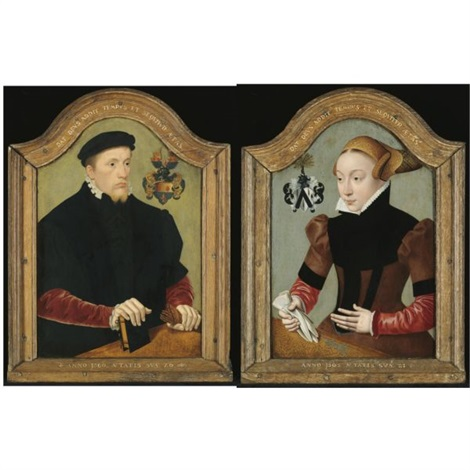 portrait of nicolaus von gail aged 26 wearing a black doublet with red sleeves and holding a book and a pair of gloves portrait of sophie von wedigh aged 21 wearing a black and red dress pair by bartholomäus barthel bruyn the younger