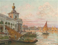 market day at the custom's house, venice by giovanni campriani