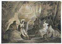 scène antique (+ etudes; verso) by jean alaux