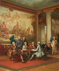 a rococo interior with gentlemen playing ches by benjamin eugène fichel