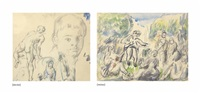 page de croquis (recto); la partie de campagne (verso ) by paul cézanne