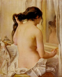 nude combing her hair by victor louis mottez