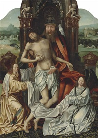 the throne of mercy, with two angels, a landscape beyond by antwerp school
