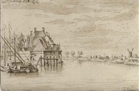 view of the river maas at dordrecht by josua de grave