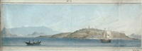 raza (or light house) island with a distant view of the entrance of rio de janeiro harbour by augustus earle
