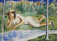 muchacha reclinada junto al arroyo by victor manuel