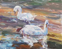 reflections (swans) by fred cameron